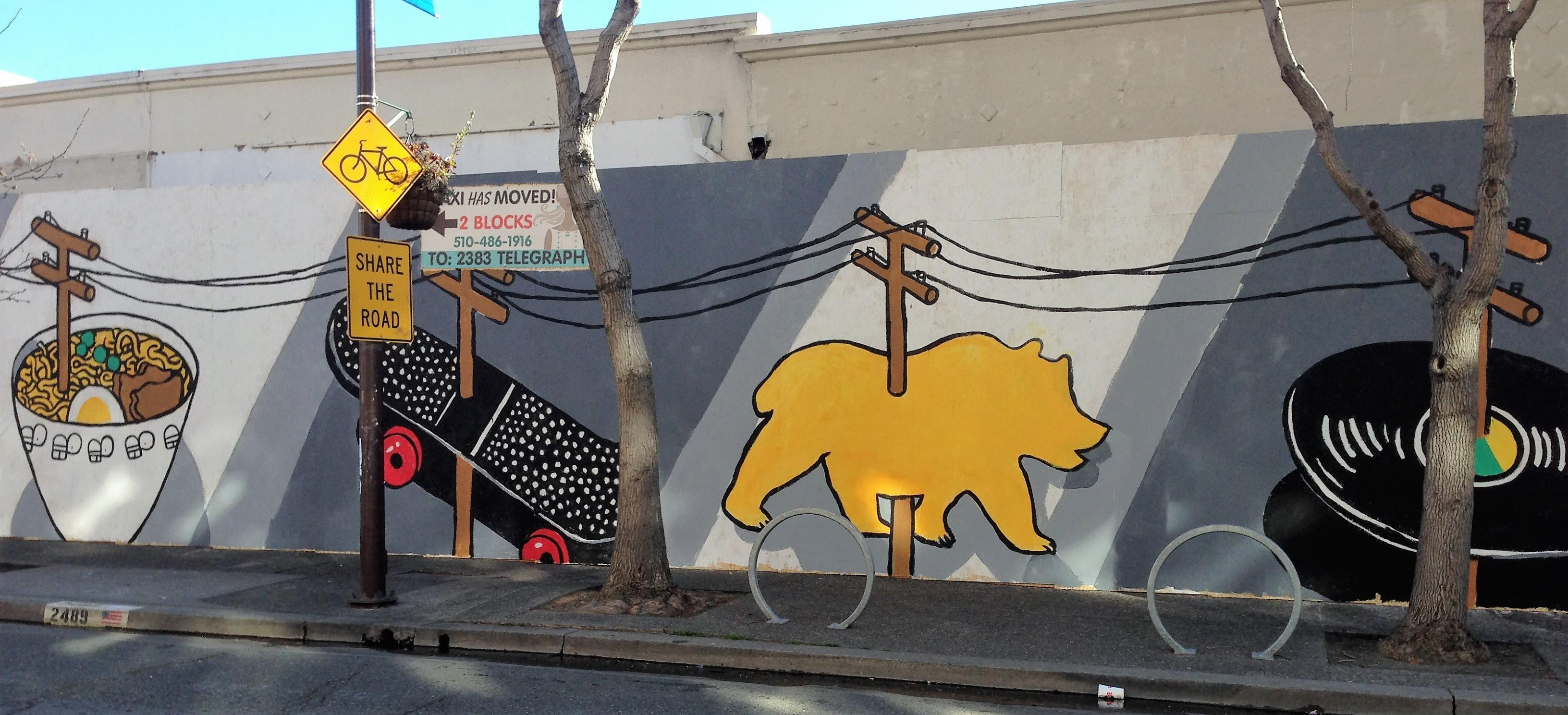 """A mural by Nigel Sussman called """"Wired"""" commissinoed by the Telegraph Business Improvement District, a fund recipient."""
