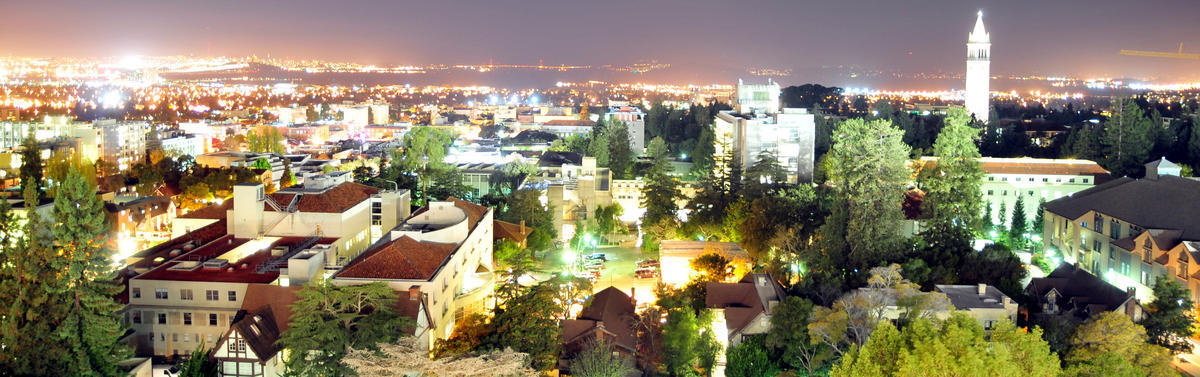 Berkeley campus at night