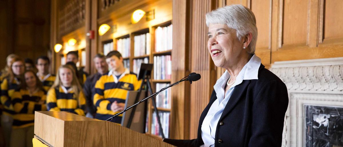 Chancellor Carol Christ speaking in Doe Library